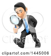 Clipart Of A 3d Business Man Looking At The Ground And Searching Through A Magnifying Glass On A White Background Royalty Free Illustration