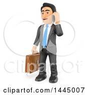 Clipart Of A 3d Business Man Holding A Briefcase And Talking On A Cell Phone On A White Background Royalty Free Illustration by Texelart