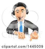 Clipart Of A 3d Business Man Wearing A Headset And Pointing Down Over A Sign On A White Background Royalty Free Illustration by Texelart