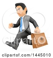 Clipart Of A 3d Business Man Running With A Briefcase On A White Background Royalty Free Illustration