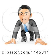 Clipart Of A 3d Business Man Ready To Race On A White Background Royalty Free Illustration