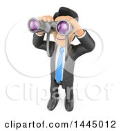 Clipart Of A 3d Business Man Looking Up Through Binoculars On A White Background Royalty Free Illustration