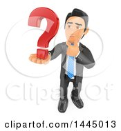 Clipart Of A 3d Business Man Thinking And Holding A Question Mark On A White Background Royalty Free Illustration