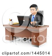 Clipart Of A 3d Business Man Working On A Laptop At An Office Desk On A White Background Royalty Free Illustration by Texelart