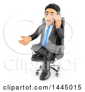 Clipart Of A 3d Business Man Sitting In A Chair Gesturing And Talking On A Cell Phone On A White Background Royalty Free Illustration by Texelart