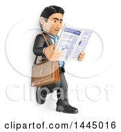 Clipart Of A 3d Business Man Leaning Against A Wall And Reading A Newspaper On A White Background Royalty Free Illustration