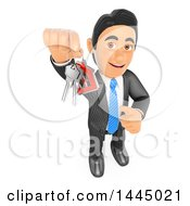 Clipart Of A 3d Business Man Holding Up House Keys On A White Background Royalty Free Illustration