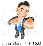Clipart Of A 3d Business Man Holding Up And Pointing To A Vip Stamp On His Hand On A White Background Royalty Free Illustration