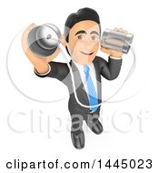 Clipart Of A 3d Business Man Holding Up And Talking Through Can Phones On A White Background Royalty Free Illustration