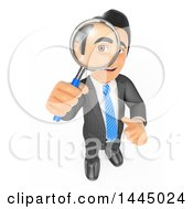 Clipart Of A 3d Business Man Looking Up Through A Magnifying Glass On A White Background Royalty Free Illustration