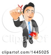 Clipart Of A 3d Business Man Looking Up And Aiming A Dart On A White Background Royalty Free Illustration
