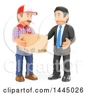 Clipart Of A 3d Business Man Talking To A Delivery Guy On A White Background Royalty Free Illustration by Texelart