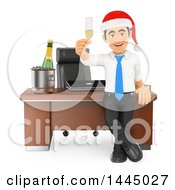 Clipart Of A 3d Business Man Wearing A Santa Hat And Toasting With Champagne At An Office Christmas Party On A White Background Royalty Free Illustration