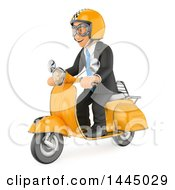 Clipart Of A 3d Business Man Riding A Scooter On A White Background Royalty Free Illustration