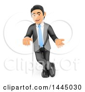 Clipart Of A 3d Business Man Gesturing And Leaning On A Sign On A White Background Royalty Free Illustration