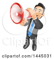 Clipart Of A 3d Business Man Speaking Through A Megaphone On A White Background Royalty Free Illustration