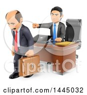 Clipart Of A 3d Business Man Firing An Employee And Pointing On A White Background Royalty Free Illustration by Texelart
