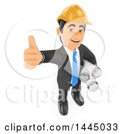 Clipart Of A 3d Business Man Entrepeneur Or Engineer Architect Holding Up A Thumb And Blueprints On A White Background Royalty Free Illustration