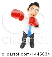 Clipart Of A 3d Business Man Punching And Wearing Boxing Gloves On A White Background Royalty Free Illustration