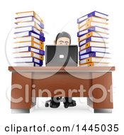Clipart Of A 3d Business Man Working Overtime With Books And A Laptop At His Desk On A White Background Royalty Free Illustration