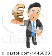 Poster, Art Print Of 3d Business Man Holding Up A Euro Currency Symbol On A White Background