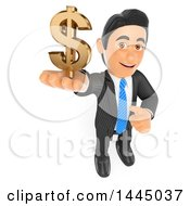 Clipart Of A 3d Business Man Holding Up A Dollar Currency Symbol On A White Background Royalty Free Illustration by Texelart
