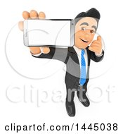 Clipart Of A 3d Business Man Holding Up A Cell Phone And Showing A Blank Screen While Gesturing To Call On A White Background Royalty Free Illustration by Texelart