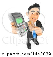 Poster, Art Print Of 3d Business Man Holding Up A Credit Card And Terminal On A White Background