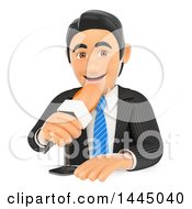 3d Business Man Or Reporter Talking Into A Microphone On A White Background