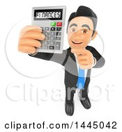 Poster, Art Print Of 3d Business Man Holding Up A Calculator With Finances On The Screen On A White Background