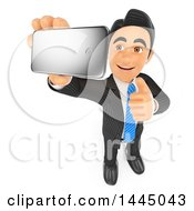 Clipart Of A 3d Business Man Holding Up A Thumb And Taking A Selfie With A Cell Phone On A White Background Royalty Free Illustration by Texelart