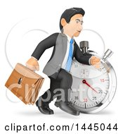 Clipart Of A 3d Business Man Running By A Stopwatch On A White Background Royalty Free Illustration
