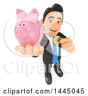 Clipart Of A 3d Business Man Holding Up A Coin And Piggy Bank On A White Background Royalty Free Illustration by Texelart