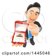 Clipart Of A 3d Business Man Proposing And Holding Up A Ring On A White Background Royalty Free Illustration