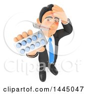 Clipart Of A 3d Sick Flushed Business Man With A Thermometer In His Mouth Holding Up A Pack Of Pills On A White Background Royalty Free Illustration