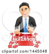 Clipart Of A 3d Business Man Assembling A Solution Jigsaw Puzzle On A White Background Royalty Free Illustration