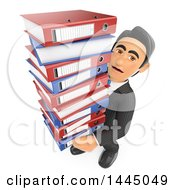 Clipart Of A 3d Business Man Carrying A Huge Stack Of Binders On A White Background Royalty Free Illustration