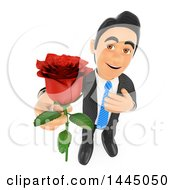 Poster, Art Print Of 3d Romantic Business Man Holding Up A Red Rose On A White Background