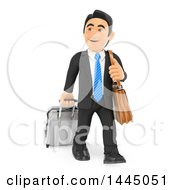Clipart Of A 3d Traveling Business Man With A Rolling Suitcase On A White Background Royalty Free Illustration