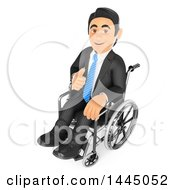 Clipart Of A 3d Handicap Or Recovering Business Man Giving A Thumb Up And Sitting In A Wheelchair On A White Background Royalty Free Illustration