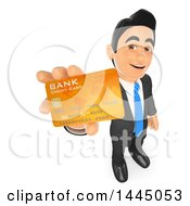 Poster, Art Print Of 3d Business Man Holding Up A Credit Card On A White Background