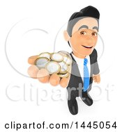 Poster, Art Print Of 3d Business Man Holding Up A Hand Full Of Euro Coins On A White Background