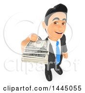 Clipart Of A 3d Business Man Holding Out Cash Money On A White Background Royalty Free Illustration