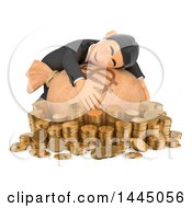 Poster, Art Print Of 3d Business Man Hugging A Money Sack Surrounded By Coins On A White Background