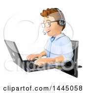 Clipart Of A 3d Business Man Wearing A Headset And Helping A Customer While Working On A Laptop On A White Background Royalty Free Illustration by Texelart