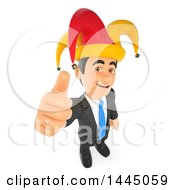 Clipart Of A 3d Business Man Holding Up A Thumb And Wearing An April Fools Jester Hat On A White Background Royalty Free Illustration by Texelart