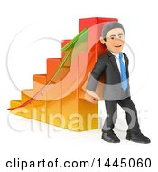 Poster, Art Print Of 3d Business Man Lifting Up A Bar Graph On A White Background