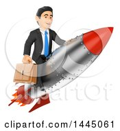 Clipart Of A 3d Business Man Holding A Briefcase And Riding A Rocket On A White Background Royalty Free Illustration