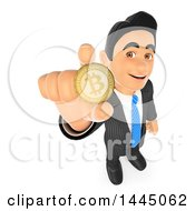 Poster, Art Print Of 3d Business Man Holding Up A Bitcoin On A White Background