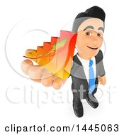 Poster, Art Print Of 3d Business Man Holding Up A Bar Graph On A White Background